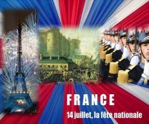 14. Juli der Nationalfeiertag Französisch zur Erinnerung an die Erstürmung der Bastille am 14. Juli 1789 puzzle