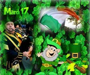17. März. Saint Patrick's Day ist der Feier der irischen Kultur. Dreiblättriges verwendet als Symbol für Irland puzzle