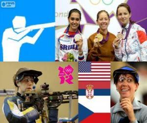 50 Meter Podest schießen Frauen drei Positionen, Jamie Lynn Gray (USA), Ivana Maksimović (Serbien) und Adela Sykorova (Tschechische Republik) - London 2012 - Gewehr puzzle
