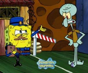 SpongeBob verkleidet als Polizist fragt einen Pass zu Thaddäus Tentakel puzzle