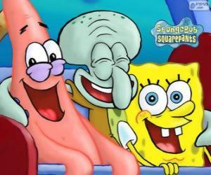 SpongeBob Schwammkopf und seine Freunde Patrick Star und Thaddäus Tentakel puzzle
