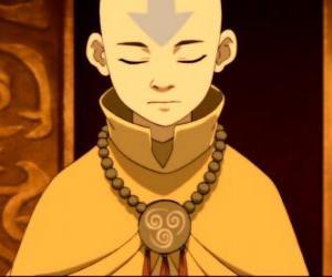 Aang ist ein 12 Jahre alter Junge, dass verbrachten 100 Jahren eingefroren in einem Eisberg mit seinem fliegenden Bison puzzle