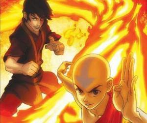Aang und Zuko kämpfen puzzle