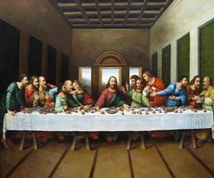 Abendmahl - Jesus mit seinen aposteln gesammelt in der nacht von gründonnerstag puzzle