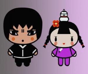 Abyo und Ching, Pucca's Friend mit ihrer Henne Gwon und Garu Freund puzzle