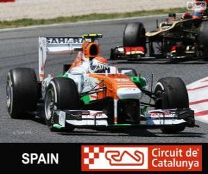 Adrian Sutil - Force India - Circuit de Catalunya, Barcelona, 2013 puzzle