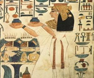 Ägyptischen stein graviert mit der darstellung einer göttin mit aufschriften oder hieroglyphen puzzle
