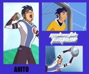 Ahito ist der Torhüter der Fußball-Nationalmannschaft Galactic Snow Kids mit Nummer 1 puzzle