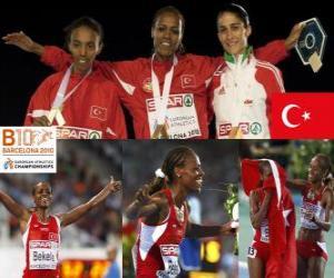 Alemitu 5000 m Weltmeister Bekele, Elvan Abeylegesse und Sara Moreira (2. und 3.) der Leichtathletik-Europameisterschaft Barcelona 2010 puzzle