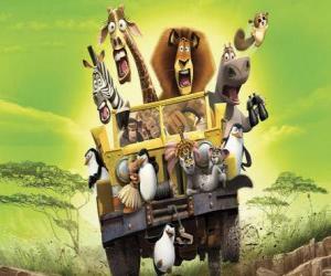 Alex der Löwe das Führen eines Jeep mit seinen Freunden Gloria, Melman, Marty und anderen Protagonisten der Abenteuer puzzle