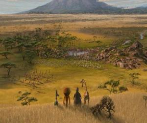 Alex, Marty, Melman, Gloria beobachtet die weiten Ebenen von Afrika puzzle