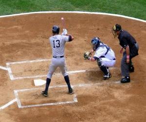 Alex Rodriguez (batter) und catcher bereit für den start puzzle