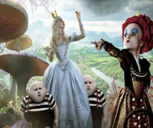Alice, zusammen mit den Zwillingen und die Rote Königin puzzle