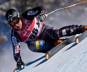 Alpine Skifahrer Üben einer Abfahrt puzzle