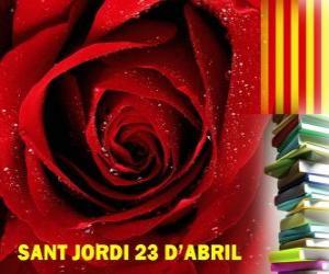 Am 23. April ist der Georgstag oder Georgitag gefeiert in Katalonien, das Festival die Buch und die Rose puzzle