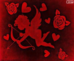 Amor, Herzen und Rosen puzzle