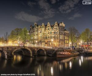 Amsterdam bei Nacht, Niederlande puzzle