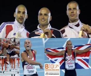 Andy Turner 110m Hürden Champion, Garfield Darien und Dániel Kiss (2. und 3.) der Leichtathletik-Europameisterschaft Barcelona 2010 puzzle