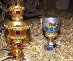 Angebote der drei Könige, Gold, Weihrauch und Myrrhe, um das Jesuskind puzzle