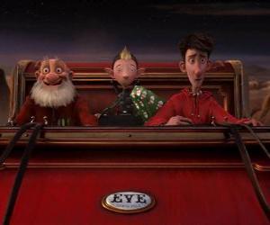 Arthur Weihnachtsmann, Opa Weihnachtsmann und Bryony auf den alten Schlitten bereit, das letzte Geschenk verteilen puzzle