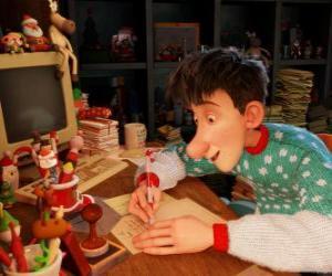 Arthur Weihnachtsmann, verantwortlich für die Beantwortung von Buchstaben aus der ganzen Welt Kinder puzzle