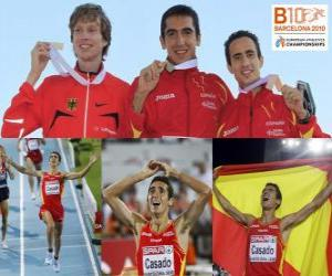 Arturo Casado 1500 m Champion und Carsten Schlangen Manuel Olmedo (2. und 3.) der Leichtathletik-Europameisterschaft Barcelona 2010 puzzle