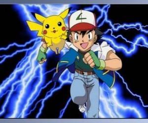 Asche, trainer von pokémon, mit seinem ersten Pokémon Pikachu puzzle