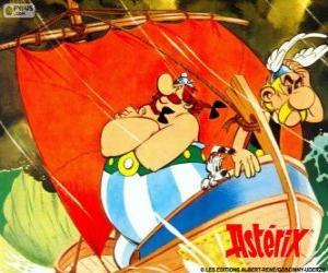 Asterix und Obelix, zwei Freunde sind die Protagonisten der Abenteuer von Asterix der Gallier puzzle