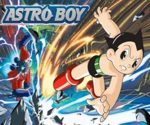 Astro Fliegen dank seiner Superkräfte, seine Beine in Rucola-Jets umgewandelt puzzle