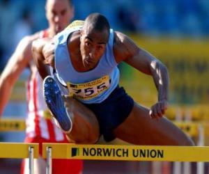 Athlet Hürden überqueren puzzle