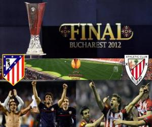Atlético Madrid gegen Athletic Bilbao. Europa League 2011-2012 Finale im Nationalstadion in Bukarest, Rumänien puzzle