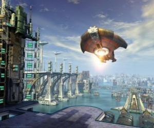 Außerirdischen raumschiff oder UFO fliegen puzzle