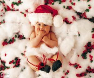 Baby mit Hut von Santa Claus puzzle