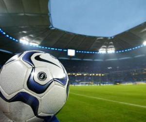 Ball in ein Fußball-Stadion puzzle