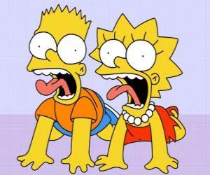 Bart und Lisa schreien puzzle