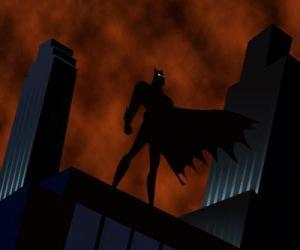 Batman, fledermaus man, gerade die stadt aus dem dach eines gebäudes in Gotham City puzzle