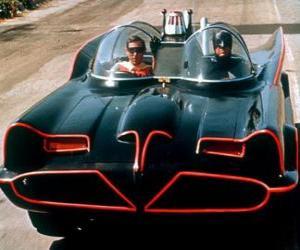 Batman und Robin in seinem Batmobil puzzle