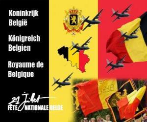 Belgischen Nationalfeiertag ist am 21. Juli gefeiert. Im Jahre 1831 der erste belgische König Treue geschworen, die Verfassung zu puzzle