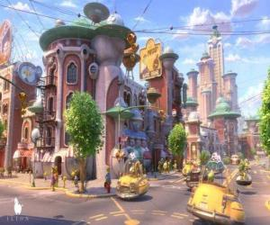 Blick auf eine Straße von Glipforg auf Planet 51 puzzle