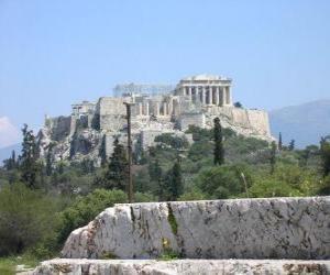 Blick in den tempel der griechischen stadt puzzle