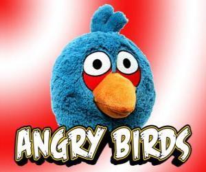 Blue Bird (Blau Vogel), kleine Vogel, der in drei In-flight ist gespalten puzzle