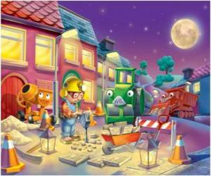 Bob und seine Freunde in der Nacht trabajano Reparatur einer Stadtstraße puzzle