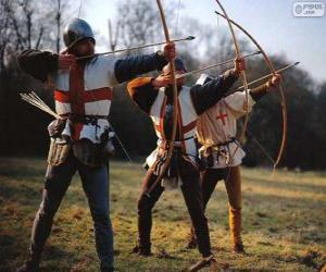 Bogenschützen, mittelalterlichen Soldaten mit einem Bogen bewaffnet puzzle