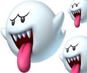 Boo aus Super Mario Bros Spiel. Die Boos sind spektrale Wesen mit scharfen Zähnen und langen Zungen puzzle