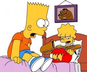 Brat überrascht Lisa mit einem Instrument zu sehen puzzle