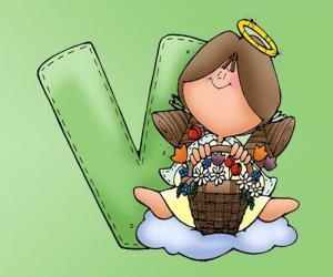 Buchstabe V mit einem Engel puzzle