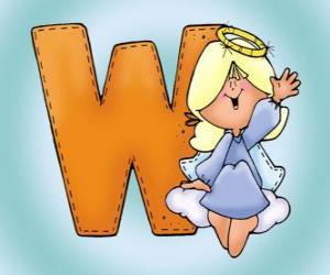 Buchstabe W mit einem Engel puzzle
