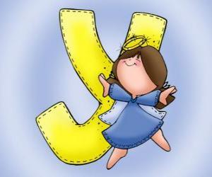 Buchstabe Y mit einem Engel puzzle
