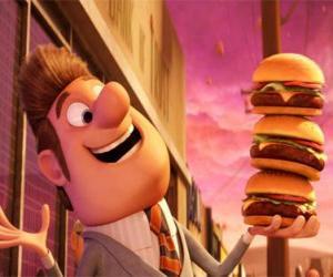 Bürgermeister zufrieden mit drei Burger in der Hand puzzle