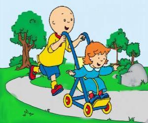 Caillou einen Spaziergang mit kleinen Schwester im Kinderwagen puzzle